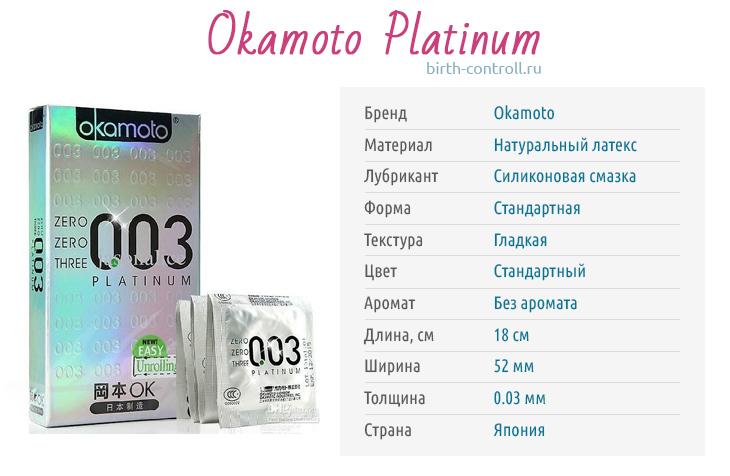 Характеристики презервативов Окамото платинум