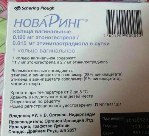 Обратная сторона упаковки противозачаточного кольца